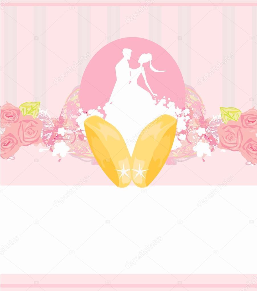 Goldene Hochzeit Ringe Und Paar Einladungskarte Hochzeit