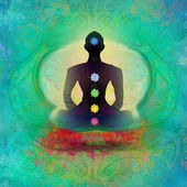 Fotografie Jóga lotus pose. padmásaně s barevnými čakra body