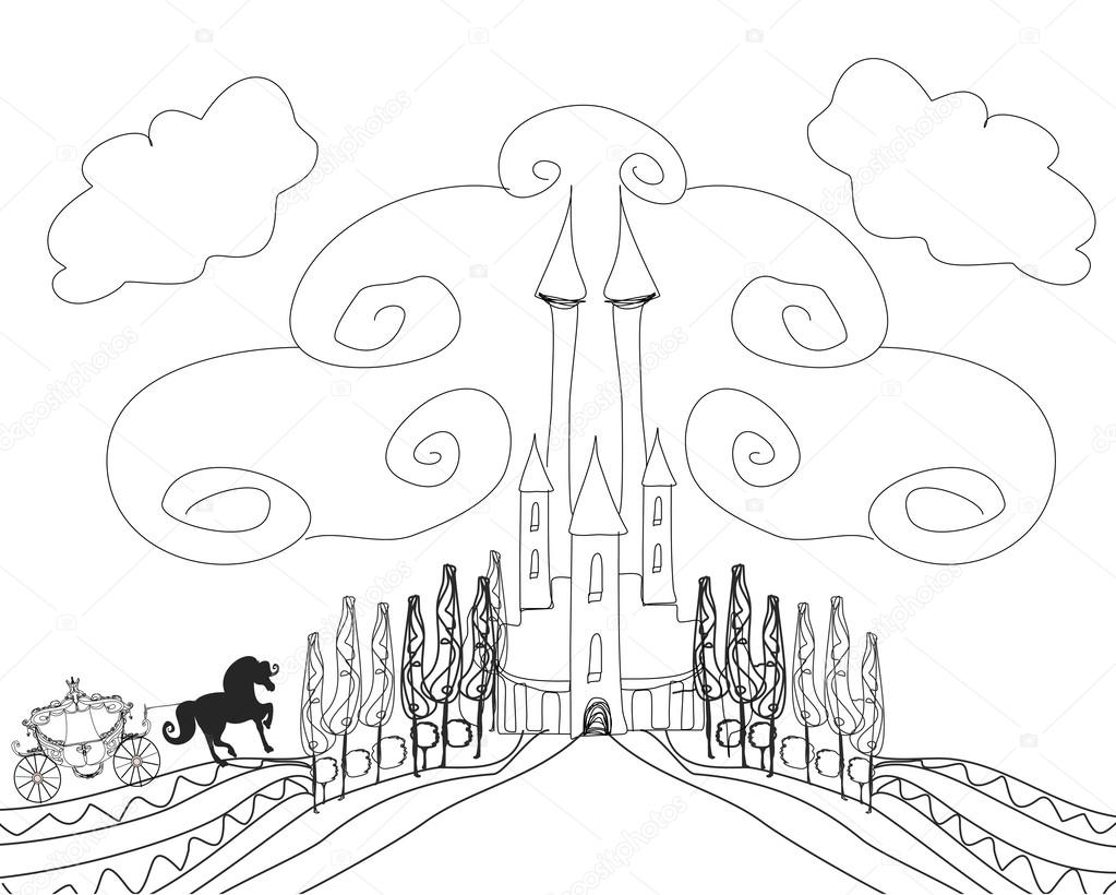 Silhouette Of A Horse Carriage And A Medieval Castle  Hand Draw €� Stock  Vector #