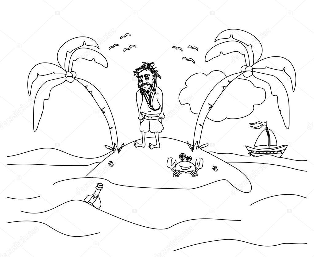 Одинокий человек, живущий на небольшом необитаемом острове — стоковый вектор