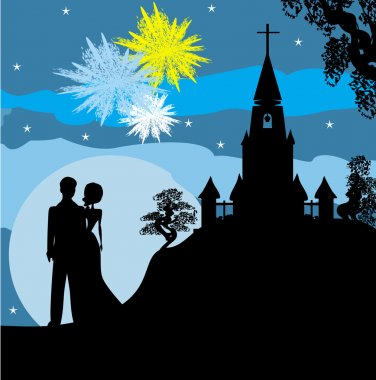 Bridal couple stand sorrounding by fireworks
