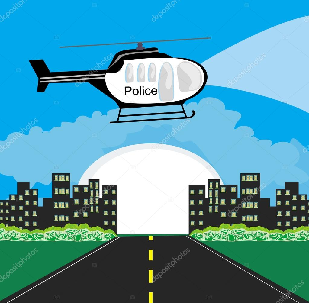 Police helicopter patrolling the city at night — Stock