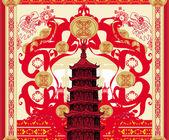 dekorativní karta s abstrakcí asijské budova