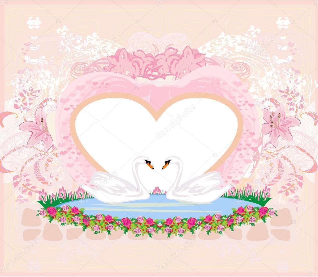 Открытку, с бракосочетанием открытки лебеди