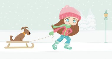 Sweet girl and her dog on winter landscape