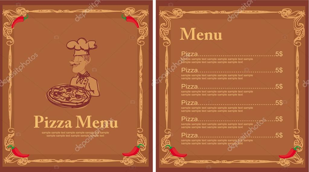 Pizza Menu Template With Chef  Stock Vector  Jackybrown