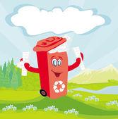 újrahasznosítás piros bin papírjaival - karakter illusztráció