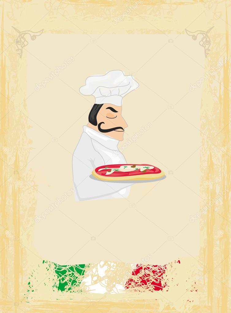 Plantilla de menú de pizza con chef y bandera italiana — Archivo ...