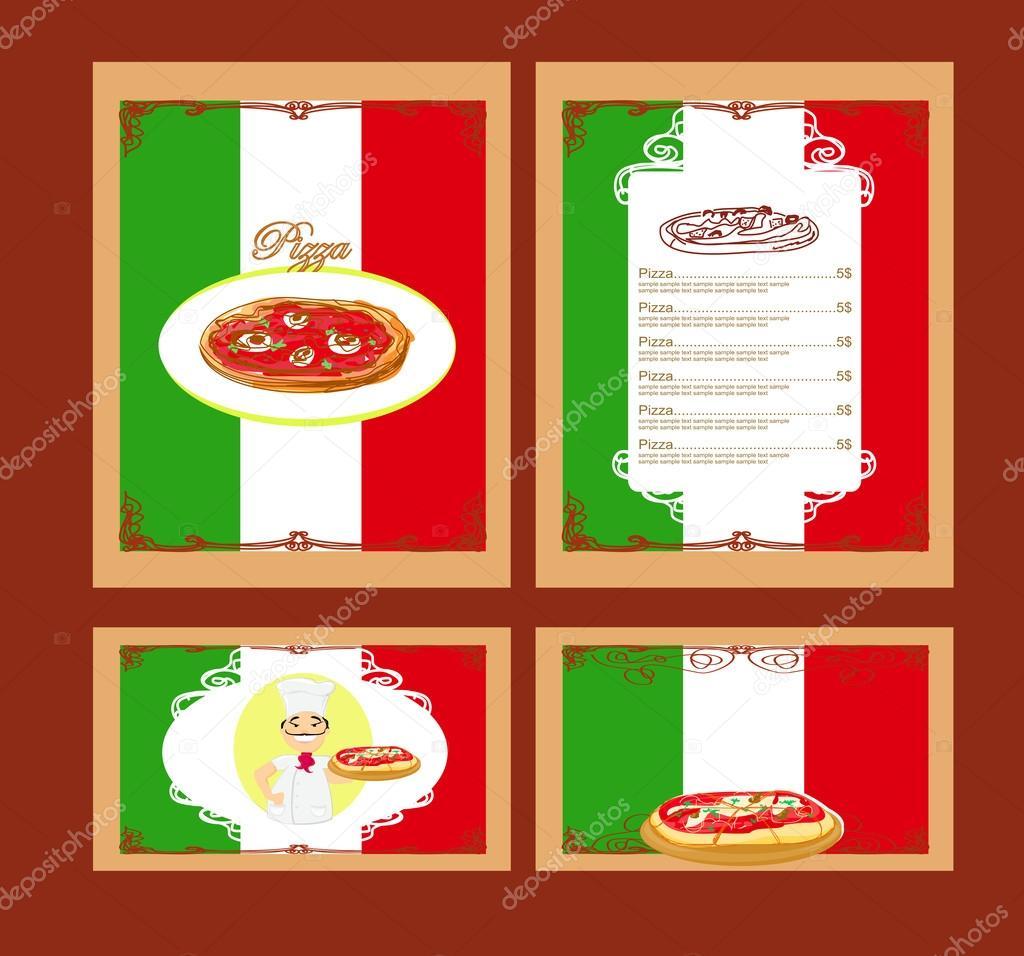 conjunto de plantillas de menú de pizza — Vector de stock ...