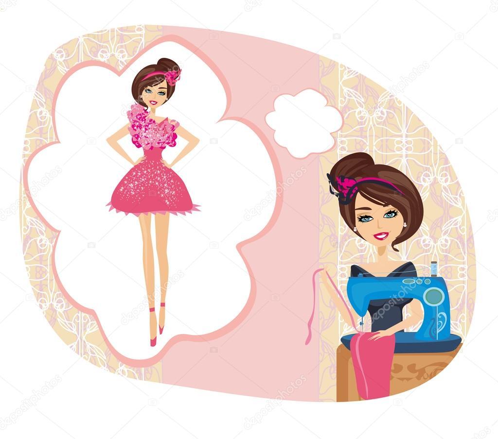 chica con la máquina de coser, sueña con un bonito vestido — Archivo ...