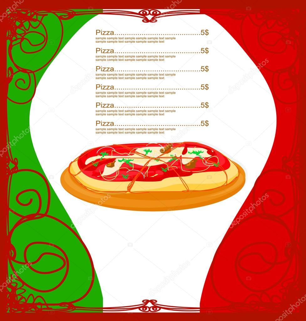 plantilla de menú de pizza — Vector de stock © JackyBrown #42401919