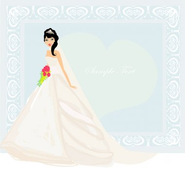 Beautiful bride with red roses card