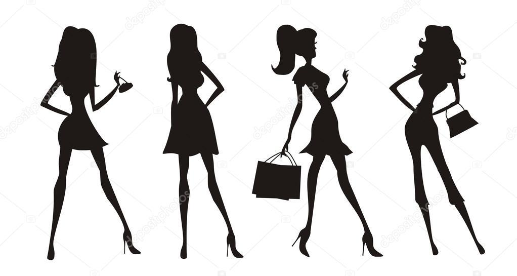 Moda Vector Siluetas De Chicas De Compras
