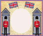 abstraktní pozadí s příznakem Anglie a beefeater voják