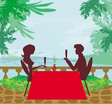 Romantic date on a tropical beach clip art vector