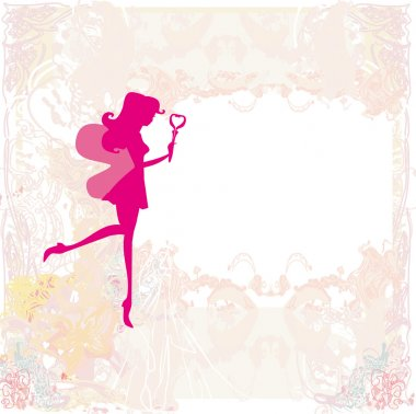 background with a beautiful fairy silhouette with magic wand