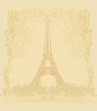 vintage retro Eiffel tower card