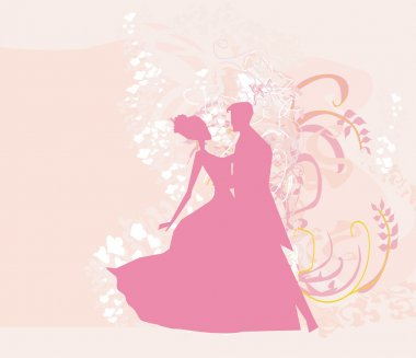 Ballroom wedding couple dancers silhouette - invitation card