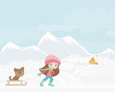Sweet girl and her dog on winer landscape
