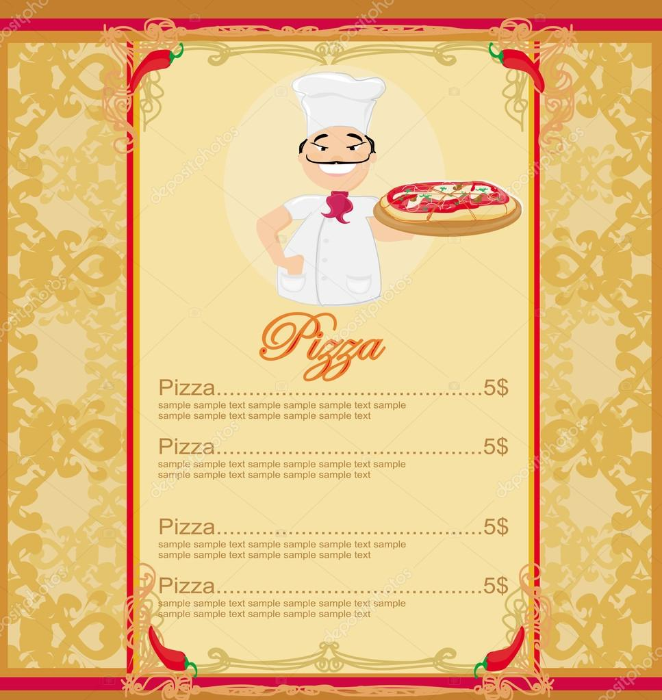 Pizza Menu With Chef Template Card U2014 Stock Vector