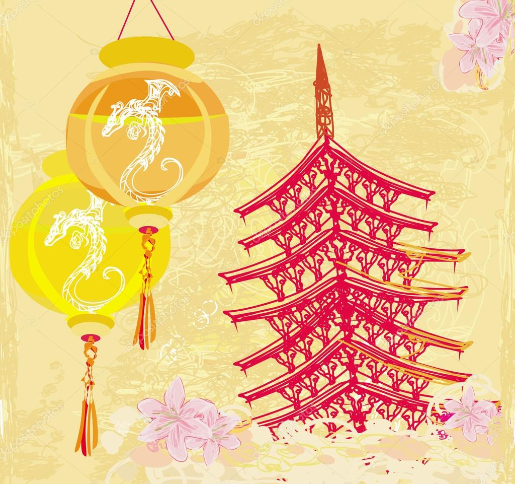 old paper with Asian Landscape and Chinese Lanterns - vintage ja