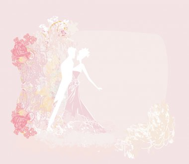 Ballroom wedding dancers silhouette - invitation