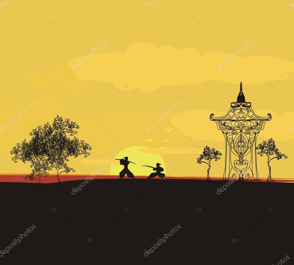 fighting samurai silhouette at sunset asian landscape stock vector