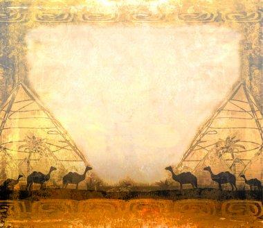 camel caravan in wild africa - abstract grunge frame