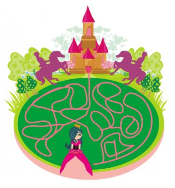 Funny maze game - princess looking for a way to the castle