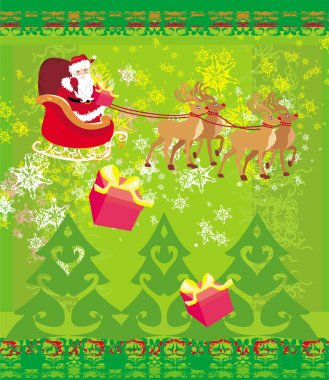 Santa Claus and reindeer - Abstract Christmas card