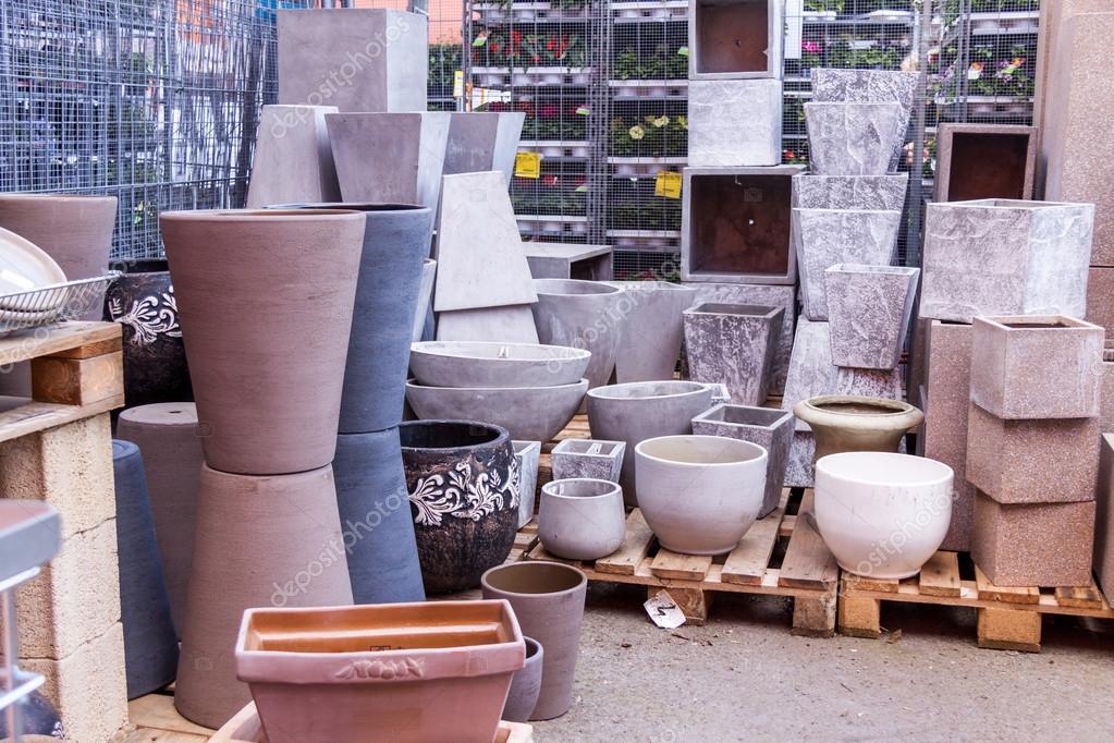glazed and unglazed ceramic flower pots stock photo nilswey