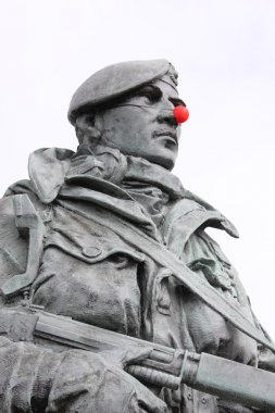 red nose on a marine statue
