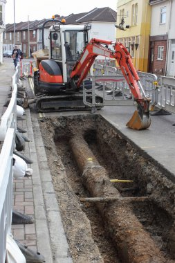 New plastic gas pipes being laid