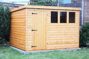 A traditional wooden garden shed