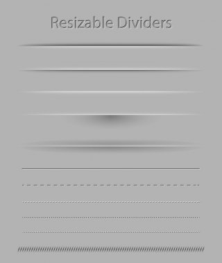 Resizable dividers with transparent shadows for all surfaces