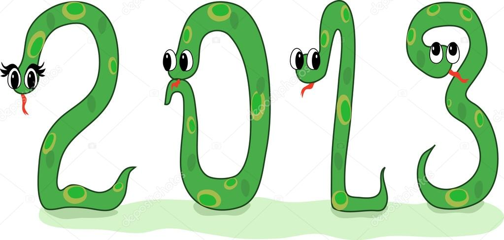 Four Crazy Snakes Designed As Symbols Of 2013 New Year Stock