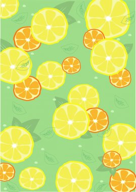 Background from lemons and oranges with leaves