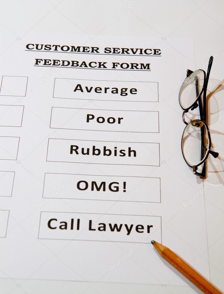 Fun Customer Service Feedback Form unchecked — Stock Photo ...