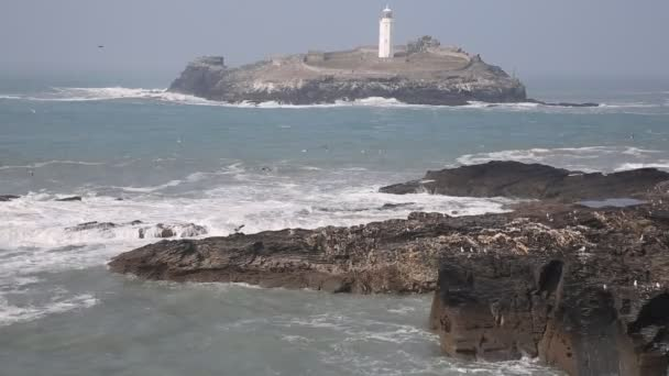 Godrevy lighthouse and island St Ives Bay Cornwall coast England UK facing the Atlantic Ocean within Area of Outstanding Natural Beauty and features the South West Coast Path