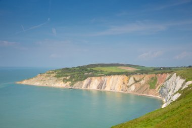 Alum Bay Isle of Wight beautiful beach and rocks and bay next to the Needles tourist attraction