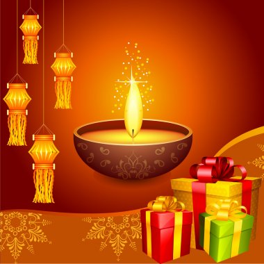 Vector illustration of colorful diwali hanging lantern with gift stock vector