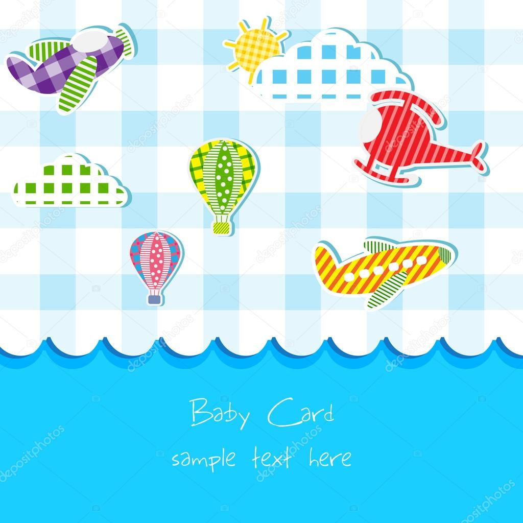 Toy in Baby Announcement card
