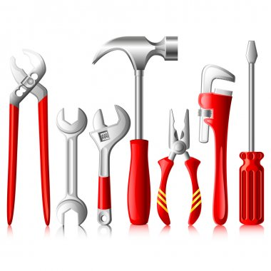 Vector illustration of collection of tools against white stock vector