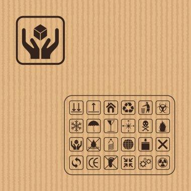 Cargo symbol on Cardboard texture