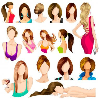 Vector illustration of collection of female hair style clip art vector