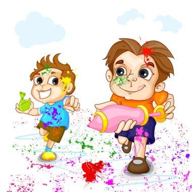 Vector illustration of kids playing Holi festival stock vector