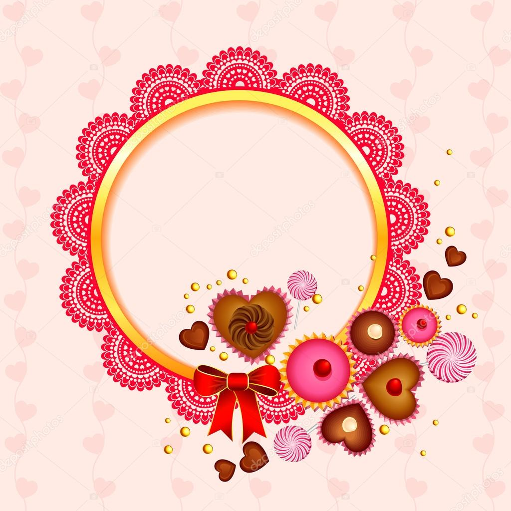 Victorian lace frame with love candy