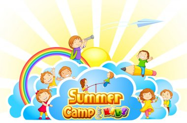 Vector illustration of kid playing in summer camp poster stock vector