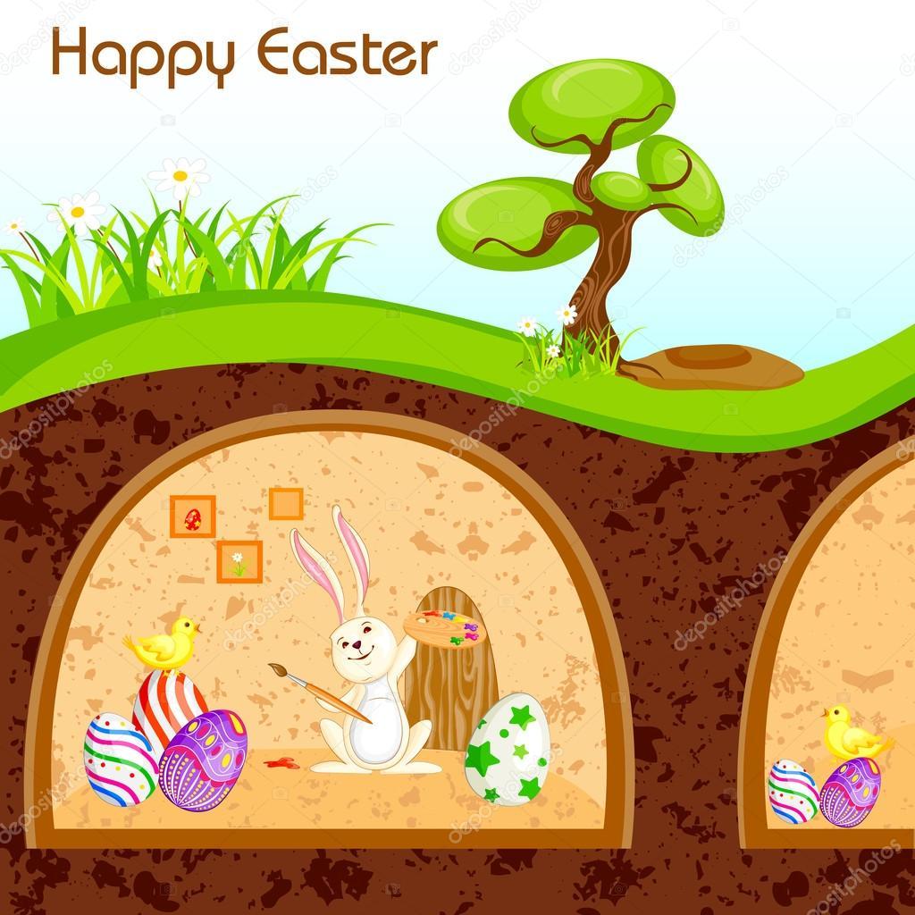 pintura felices Pascuas en madriguera de conejo — Archivo Imágenes ...