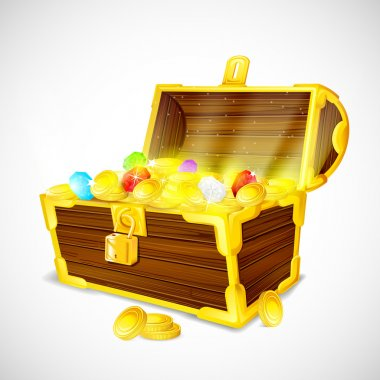Treasure chest full of Gold Coins and Gem